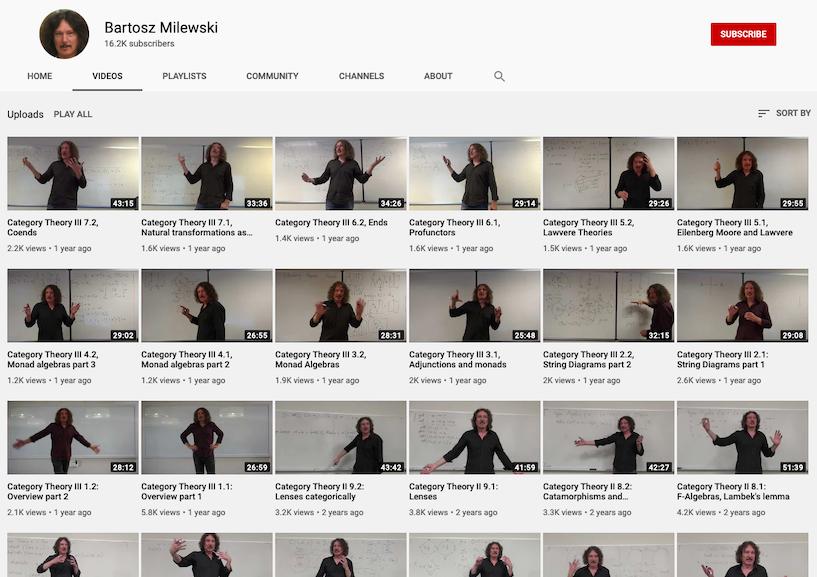 Bartosz Milewski's YouTube channel